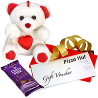 Magical Friendship Pack of Cadbury Silk with Teddy N Pizza Hut Gift Voucher to Patna