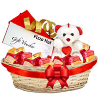 Delicious Foxes Mixed Fruits Basket with Teddy N Pizza Hut Gift Voucher to Patna
