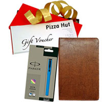 Attractive Card Holder with Parker Pen N Pizza Hut Gift Voucher for Dad to Patna