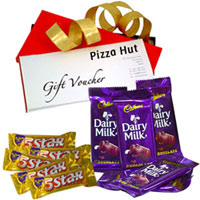 Yummy Assortment of Cadbury with Pizza Hut Gift Voucher to Patna