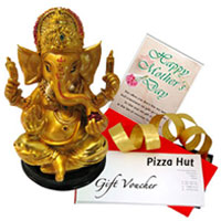 Handcrafted Ganesh Idol with Pizza Hut Gift Voucher N Mothers Day Card to Patna