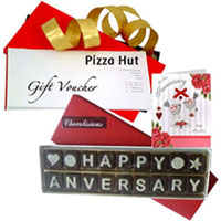Exciting Pizza Hut Gift Voucher with Handmade Chocolate N Anniversary Card to Patna