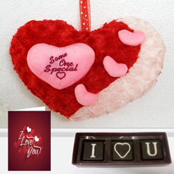 Heartwarming Gift of Soft Heart Love, I Love You Handmade Chocolate N Love Card to Bantwal