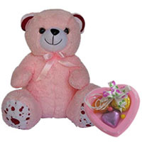 Cuddly Teddy with Heart Shaped Handmade Chocolate to Akaltara