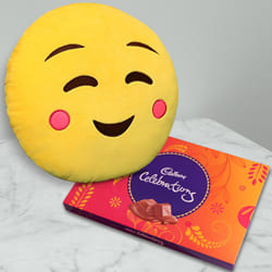 Dazzling Emoji Hanging Cushion with Cadbury Celebration Pack to Ambalamukku