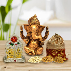 Toothsome Dry Fruits Potli with Mandap and Vighnesh Ganesh Murti to Baddi