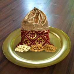 Designer Golden Plated Thali with Crispy Dry Fruits Pack to Ancharakandy