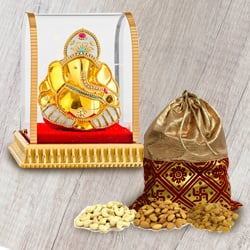 Treasured Mixed Dry Fruits Potli with Vinayaka Murti to Bakhtiarpur