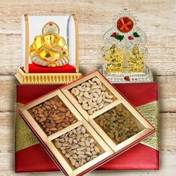 Exclusive Puja Mandap with Ganesh Murti and Assorted Dry Fruits Box to Ancharakandy