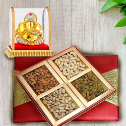 Amazing Vighnesh Ganesha Idol with Assorted Dry Fruits Box to Ancharakandy