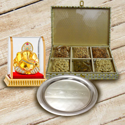 Divine Lord Ganesha with Silver Plated Thali N Dry Fruits to Ancharakandy