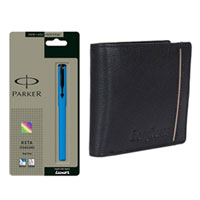Gift of Longhorns Leather Wallet N a Parker Pen for Men to Bakharganj