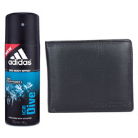 Online Gift of Addidas Deo Spray and Longhorns Leather Wallet to Ashok Nagar