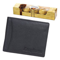 Charming Gift for Men - Longhorns Leather Wallet with Ferrero Rocher to Bahadurgarh