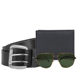 Stylish Gift Set of Longhorn Leather Wallet with Fastrack Belt N Sunglass to Ancharakandy