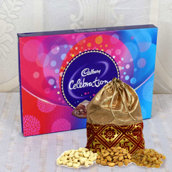 Blissful Potli of Dry Fruits with Cadbury Celebration Pack to Baran