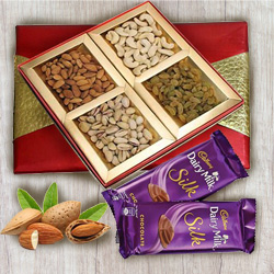 Classic Box of Mixed Dry Fruits with Cadbury Dairy Milk Silk to Ancharakandy