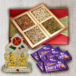 Designer Puja Mandap with Mixed Dry Fruit and Chocolates to Belapur Road
