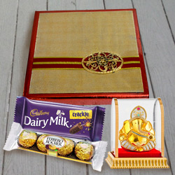 Assorted Dry Fruits N Chocolates Pack with Vighnesh Ganesh Idol to Ancharakandy