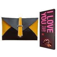 Amazing Spice Art Yellow and Black Ladies Clutch With Amul Chocolate Bar to Amravati