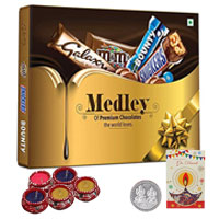 Assorted Chocolates with Free Diya N Silver Coin to Agra