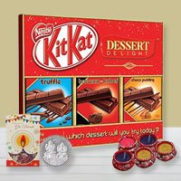 Enjoyable Gift Pack of Chocolates with Diya N Greetings Card to Alwar