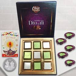 Luscious Chocolate Delight Pack with Silver Coin N Diyas to Belgaum