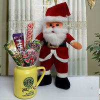 Santa Claus with Candies n Starbucks Coffee Mug to Arcot