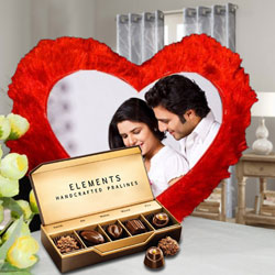 Exclusive ITC Chocolates with Heart Shaped Personalized Cushion to Alwar