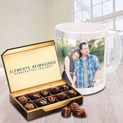 Marvelous Personalized Coffee Mug with ITC Premium Chocolates to Bangalore