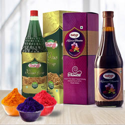 Playfull Holi Hamper of Guruji Thandai n Herbal Gulal to Banda