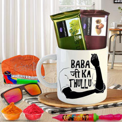 Perfect n Funky Coffee Mug n Holi Chocolates Hamper to Banda