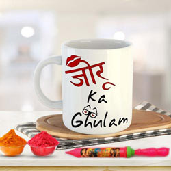 Superb Holi Gift of Coffee Mug Set n Herbal Gulal to Adoor