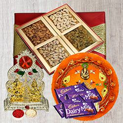Assorted Dry Fruits with Pooja Thali, Ganesh Idol N Chocolates to Aligarh