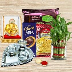 Eco Friendly Gift for Good Luck with Sweets n Chocolates to Ahmedabad