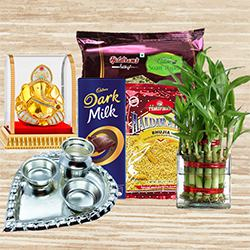 Eco Friendly Gift for Good Luck with Sweets n Chocolates to Varanasi