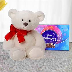 Big White Teddy with Cadbruy Chocolates to Akurdi
