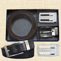Reversible Black Belt n Buckle Gift Set to Allahabad