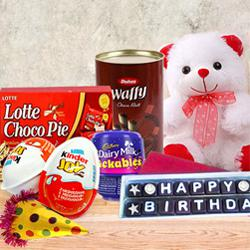 Delicate Chocolate Gift Pack with Birthday Essentials to Anpara