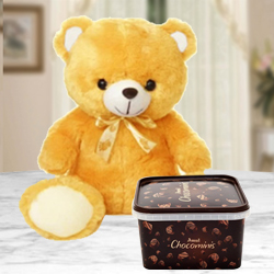 Birthday Gift of Amul Chocominis with a Soft Teddy to Adra