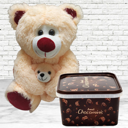 Birthday Delight of Amul Chocolates & Bear with Baby Soft Toy to Addanki
