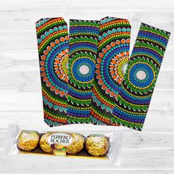 Attractive Dot Mandala Art Bookmarker with Ferrero Rocher to Alagappapuram