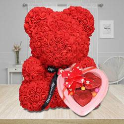 Stylish Red Rose Teddy Bear with Heart Shape Chocolates to Alapuzha