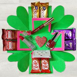 2 Layer Explosion Box of Lakme Cosmetics n Chocolates to India
