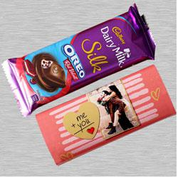 Personalized Cadbury Dairy Milk Silk Oreo Red Velvet Chocolate to Agra