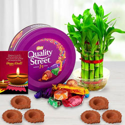 Eco-Friendly Diwali Gift of Plant, Nestle Quality Street Chocolates, Free Diya n Card to New Delhi