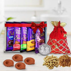 Diwali Gift of Cadbury Silk Assortment n Crunchy Dry Fruits, Free Coin to Jalandhar