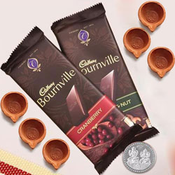 Twin Cadbury Bournville Chocolates with Diya, Free Coin for Diwali to Aligarh