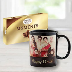 Special Personalized Family Photo Mug with Ferrero Rocher Chocolate on Diwali to Adilabad