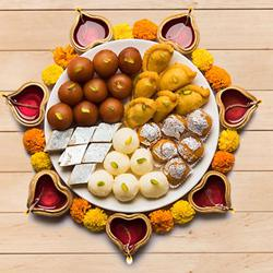 Special Tasty Assorted Diwali Sweets from Bhikaram with Diya to Agra
